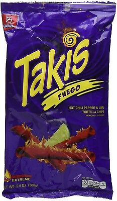 Takis Fuego Hot Chile Pepper & Lime 9.9oz ( Pack of 3 ) Super Crunchy