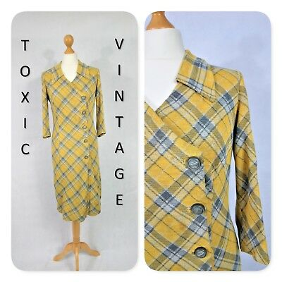 VINTAGE 1960s 1970s YELLOW GREY CHECK COLLARED DRESS. UK 12. RETRO MOD GOGO BOHO