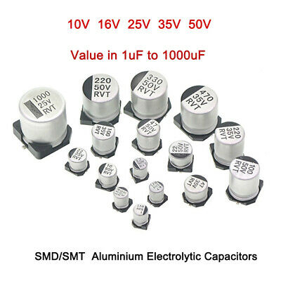 SMD/SMT 10/16/25/35/50V Aluminium Electrolytic Capacitors Value in 1uF to 1000uF