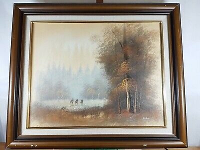 Hunting Woodland Scene Oil On Canvas Painting Signed A Dakin
