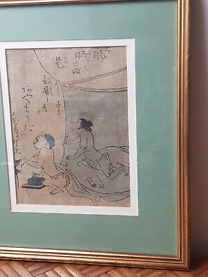 Antique  Signed Japanese Woodblock Print Sun Worshippers
