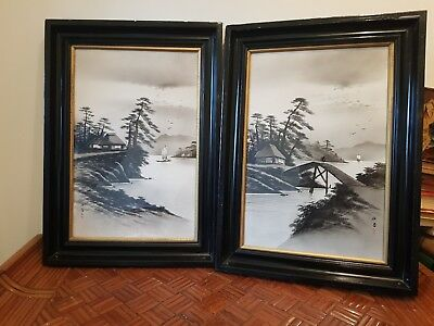 Pair Antique signed  Oriental Watercolours