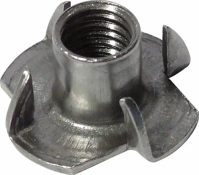 Tee Nuts 4 Four Prong Steel For Timber Wood Captive Blind T-Nut M4 M6 M8 M10 F&F