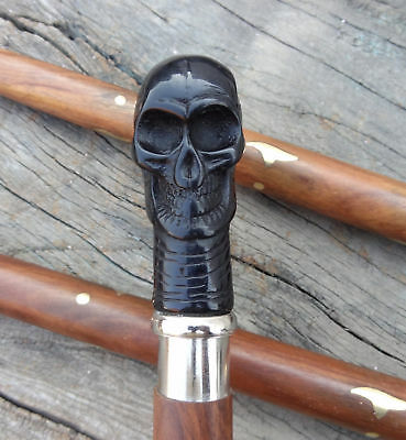 Solid Bone  Antique Skull Head handle Vintage Cane Walking Stick Designer Style