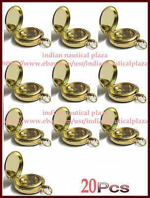 Lot of 20 Pc Nautical Maritime Solid Brass Push Button Pocket Dalvey Compass