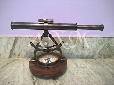 Maritime Telescopes Nautical Compass Desk Alidade Brass Finish Marine Telescope Office Decor