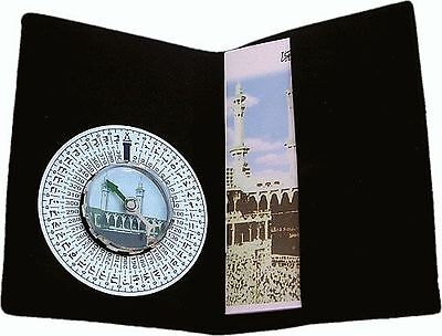 Qibla Metal Compass in Velvet Wallet - Kaaba Kibla Direction Prayer Muslim Islam