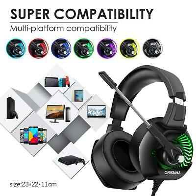 ONIKUMA K6 Wired Game Headset Stereo Headphones Mic LED for PS4 Noise Cancelling