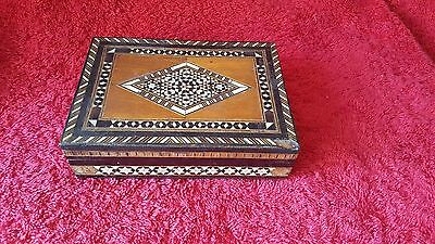 "Vintage Tunbridge ware style trinket box.Internally lined. 5.25"" x 3.75"" x 1.25"""