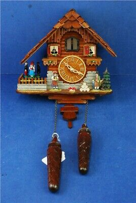 Vtg Unbranded Wooden Swiss Cuckoo Clock With Swinging Pendulum Chalet Untested