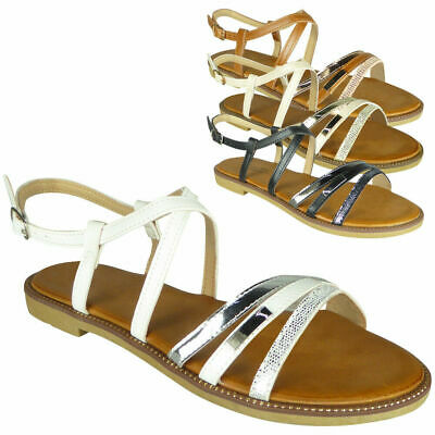 Ladies Strappy Comfy Flat Summer Peeptoe New Women Gladiator Sandals Shoes Size