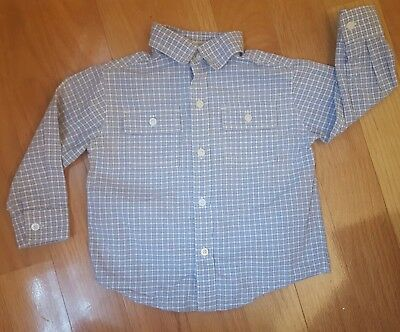 Boy Size 12-18 Months Blue Plaid Janie and Jack Long Sleeve Button Down Shirt