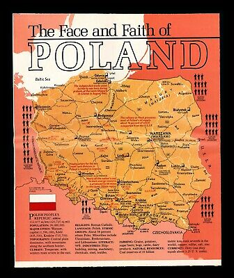 """""""The Face and Faith of Poland"""" 1982 National GeographIc Cultural Study & Map"""