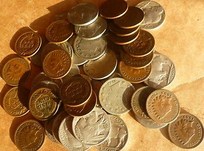 Indian Head Penny  Buffalo Nickel  Liberty V Nickel Collection 40 Coins.