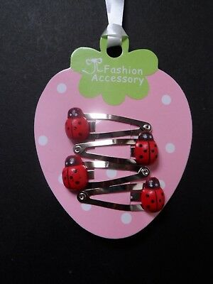 girls/baby mini/small hair clips snap clips bendies hair slides red ladybird set