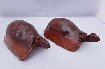 Wow Two Vintage Wooden Tortoise Figures - Hand Carved Treen Ornaments