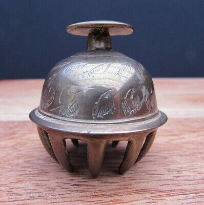 Vintage Engraved Brass Elephant Claw Bell Buddhist Temple Bell