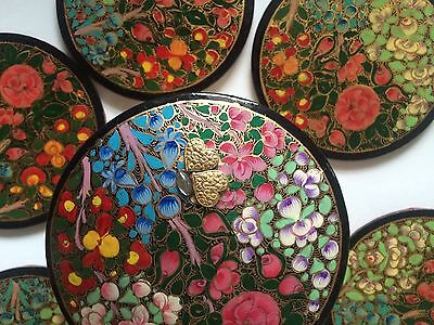 Hand Painted Art Colorful Floral Ethnic Crafts Bahrain Six 6 Coasters Box BOHO