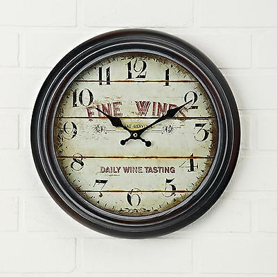 37cm Large Retro Metal Glass French Clock - Fine Wines Shabby Chic 12