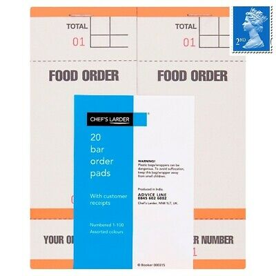 Chef's Larder Waiters Order Pads/Cloakroom Tickets/Bar Order Pads/Kitchen Order