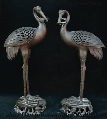 15 Ancient China Bronze Red-crowned crane Bird Incense Burner Censer Statue Pair