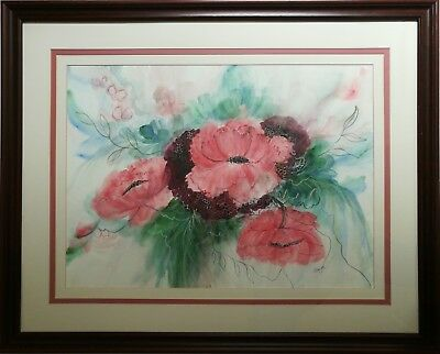 Sandra Cooper - A Large Original Signed Floral Still Life Watercolour Painting.