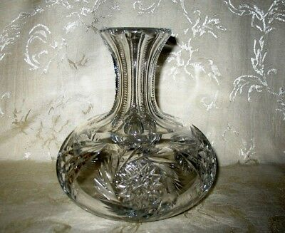 American Brilliant Old Pinwheel Cut Glass Crystal Decanter, Wine Carafe