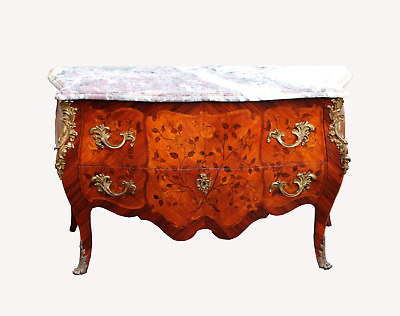 A Marquetry Inlaid And Gilt Bronze Marble Top Commode Chest
