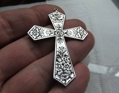 Antique Gothic engraved Iron-Steel Cross Pendant Crucifix Haute Epoque 17th C