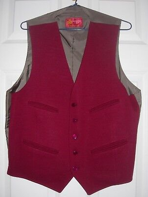 VINTAGE Dunn & Co Maroon Men's Waistcoat Wool Front :Never worn: Excellent cond