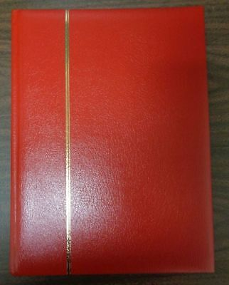 Large Red Leather Stockbook 64 pages clear strips interleaving stamp collection