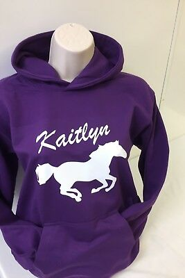 KIDS Custom Horse Hoodie WITH YOUR OWN NAME Personalised Hoodies Age 3-13 NEW