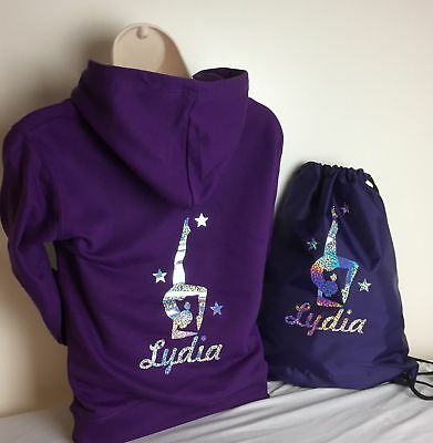 Personalised Gymnastic Hoodies & T Shirts With Bag Option Age 3 - 13 - New