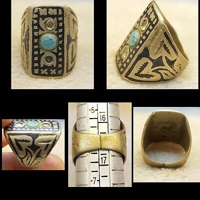 Very Unique Mix Silver Old Silver Ring With Wonderful Silver Inlay Work   # 3Sx
