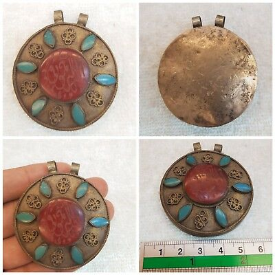 Beautiful Old Islamic Writing Agate Stone Lovely Pendant With Turquoise Stone #8