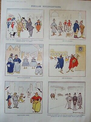 Very Rare 1922 Punch Colour Cartoon-.popular Misconceptions By Fougasse