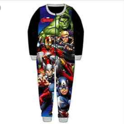 Avengers Boys/kids Fleece Character Pyjamas Children's All In One Jumpsuit Pj's