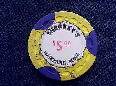 "$5 Casino Chip -- Sharkey's -- Gardnerville, Nevada -- ""Obsolete"""