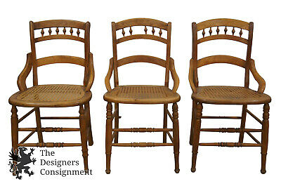 3 Antique Victorian 19th Century Walnut Dining Chairs Cane Seat Spool Accents