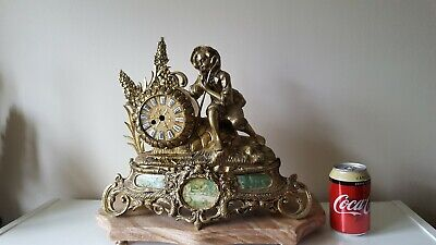 Antique French Brass Mantle Clock
