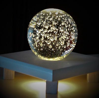 """Vintage Clear Crystal Ball 4"""" Glass Paperweight Controlled Bubbles Flat Bottom"""