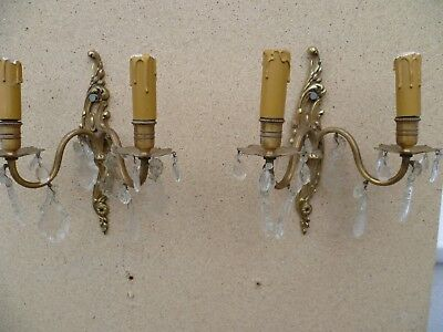 Pair Of French Double Armed, Cast Brass Wall Lights / Sconces, Cut Glass Bangles