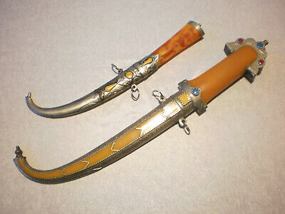 Lot of 2 Old Islamic Daggers Moroccan Koummya Pair Engraved Amber Imitation Rare