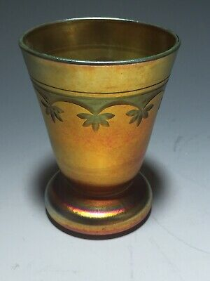 LCT Tiffany Gold Favrile Etched Sherry Cordial Glass