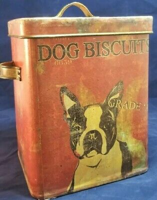 Vintage Style Reproduction Boston Terrier Tin Dog Biscuit Treat Container Can