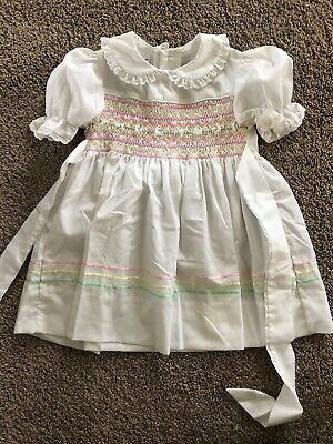 0017609f1692 Polly Flinders Vintage Smocked Dress Size 3 Sz 3T Great Vintage Condition  Spring