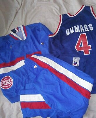 5661c7a55 Vtg 80 s Detroit Pistons Warm Up Champion XL Dumars NBA Jordan Bulls RARE
