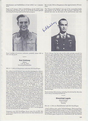 "Kurt Kuhlmey - German WWII  Luftwaffe ""Stuka""-Pilot - Signed bookpage"