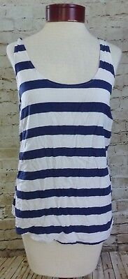 Old Navy Navy Blue & White Striped Tank Top Shirt Women's Size Large