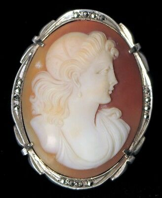 Antique Sterling Silver Beautiful Fine Carved Victorian Woman Marcasite Brooch !